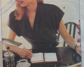 1980s Wrap Blouse Pattern, Anne Klein, Shirt, Pullover Top, 3 Career Blouses, Plus Size, Vogue  No. 2069  UNCUT Size 18 20 22