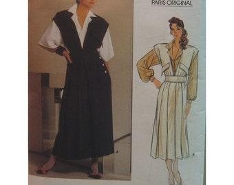 Chloe Jumper Pattern, Blouse, Pleated Skirt, V-neck Top, Waistband, Long Sleeves, Vogue Paris Original 1584 Size 10 (cut) OR Size 12 UNCUT