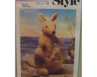 Stuffed  Kangaroo Pattern, Baby Joey, Toy, Vintage 1970s, Style No. 2131