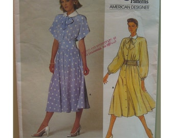Albert Nipon Flirty Afternoon Dress Pattern, Vogue No. 1375 Size 10 (Bust 32.5 inches, 83cm) English or French Instructions