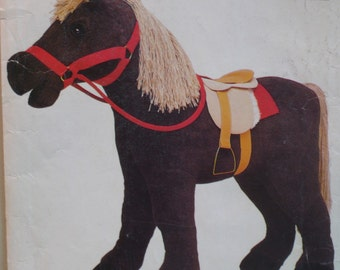 """Stuffed Toy Horse Pattern, Saddle Pony Riding Toy  Vogue No. 623 UNCUT Size 28""""x 33"""" (71cm x 84cm) French and English"""