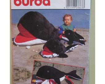 "Stuffed Whale Toy Pattern, Orca Whale Beach Bag Burda No. 3863 UNCUT Size 55"" 28"" 16"" (1.4m, 70cm, 40cm)"