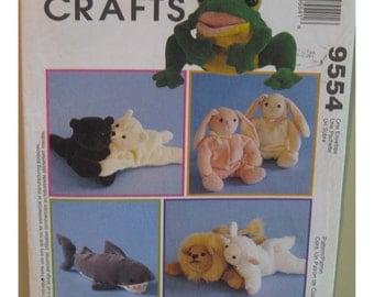 Soft Toy Animals Pattern, Bambini Bean Bag, Shark, Frog, Bunny, Lion, Polar Bear, Lamb - McCalls No. 9554 UNCUT