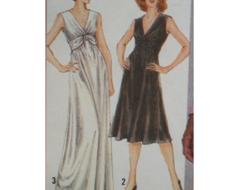 """Cocktail/Evening Dress Pattern, Vintage, Plunging V Neckline, Draped Front, Sleeveless/Sleeves, Simplicity No. 9829 Size 14 (Bust 36"""" 92cm)"""