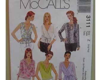 "Pullover Tops Pattern Plus Size Wrap Front, Ruffles, V Neck - McCalls No. 3111 UNCUT Size XS S M (Bust 29.5-36"" 75-92cm)"
