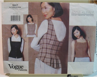 Anne Klein Womens Vest Pattern, Top, Fitted, Lined, Sleeveless,  Shaped Back, Vogue American Designer 1847 UNCUT Size 6 8 10 Bust 30.5 32.5""
