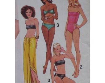 Swimsuit, Bikini Pattern, Vintage 1970s, Bandeau Top, Strapless, Halter Strap, Sarong - Simplicity No. 9002, Size 6 8 10