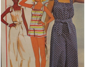 Womens Jumpsuit Pattern, Romper, Three Lengths, Tie Straps, Sunhat, Vintage 1970s McCalls No. 5499 UNCUT Size Small (10-12)