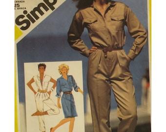 """Womens Jumpsuit Pattern, Flight Suit, Capris, Dress, Pockets, Flaps, Long Sleeves, Vintage 1980s, Simplicity 6031 Size 16 (Bust 38"""" 97cm)"""