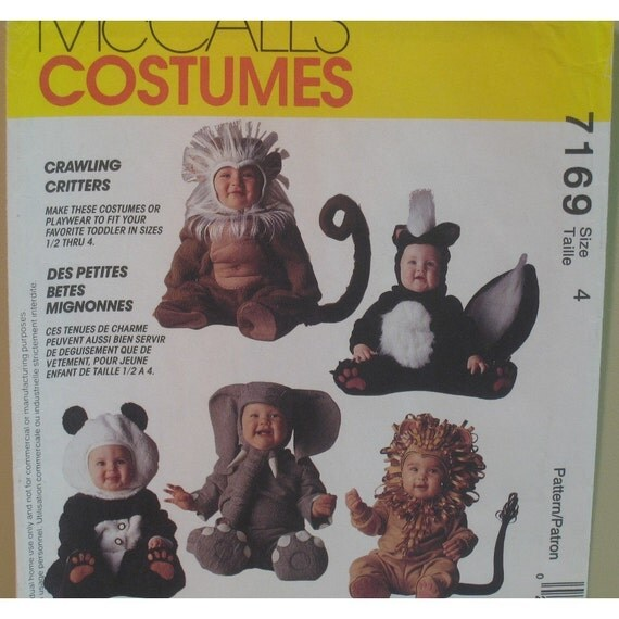 Toddler Panda, Lion, Elephant Costume Pattern, Monkey, Skunk by Tom Arma, McCall's No. 7169 UNCUT Size 4 Chest 23 inches