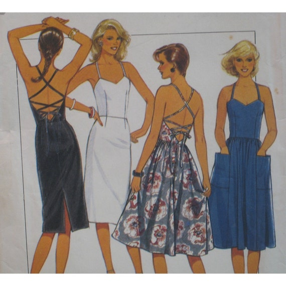 Strappy Sundress Pattern, Lace Up Back, Fitted Bodice, Straight Skirt, Sweetheart Neck  Style No. 4127  Size 10 12 14