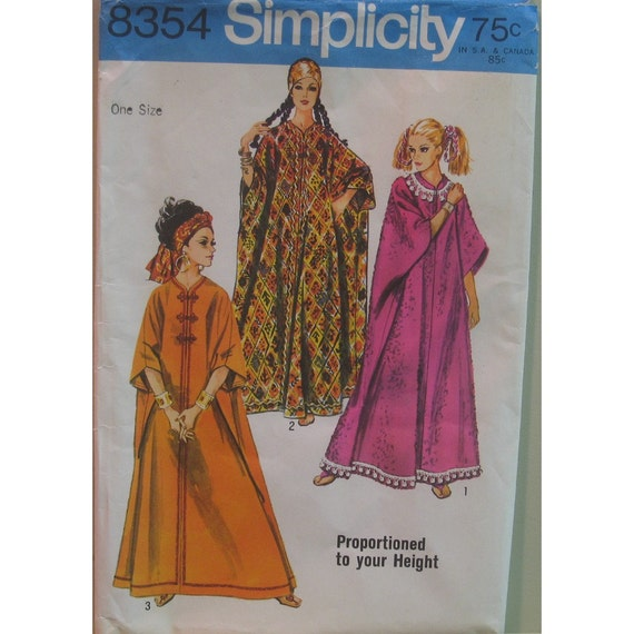 1960s Hippie Caftan Pattern, Height Proportioned Robe, Collarless, Shaped Neckline, Braid Trim, Simplicity No. 8354 One Size