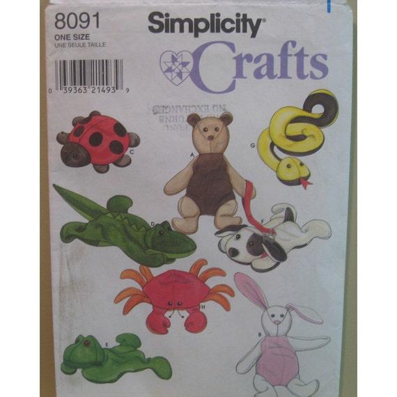 Beanie Babies Pattern, Stuffed Animal Toy,  Frog, Bear, Snake, Turtle, Crab, Alligator, Rabbit, Dog, Snake,Simplicity No. 8091 UNCUT