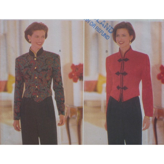 Jacket Pattern, High Necked Military Style Jacket With Shaped Front, Pants Butterick No. 4625 Size 14 16 18 (Bust 36 to 40, 92 to 102cm)