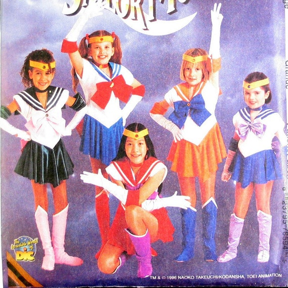 "Sailor Moon Costume Pattern Halloween Costume McCalls No. 7859 Girls Size 10-12  Chest 28.5-30"")"