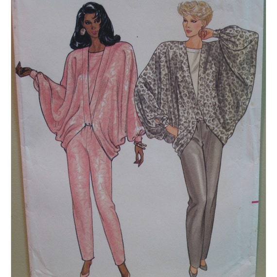 Cocoon Draped Jacket Pattern, Vintage 1980s, Pants, Blouse - Butterick No. 5733 UNCUT Size 6 8 10 (Bust 30.5 to 32.5, 78 to 83cm)
