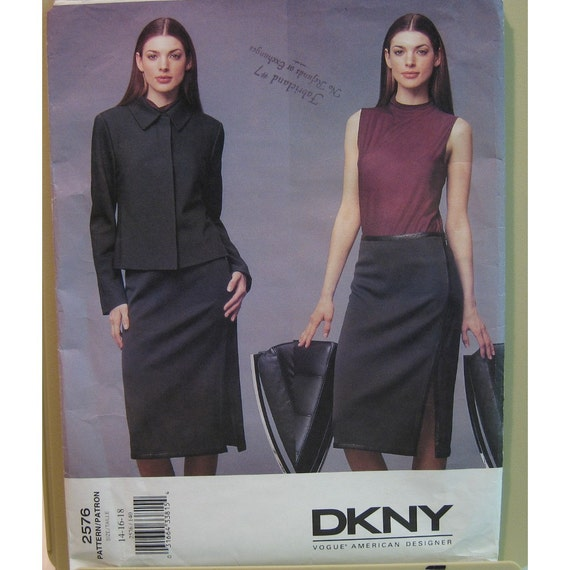 DKNY Womens Suit Pattern, Bias Cut Jacket, Straight Skirt, Pullover Top - Donna Karan Vogue American Designer No. 2576 UNCUT Size 14, 16, 18