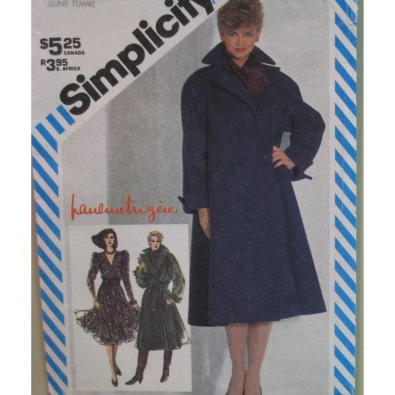 "Pauline Trigere Pattern Womens Wrap Coat, V Neck Dress, Full Skirt, Shaped Belt - Simplicity No. 5706 UNCUT Size 16  (Bust 38"" 97cm)"