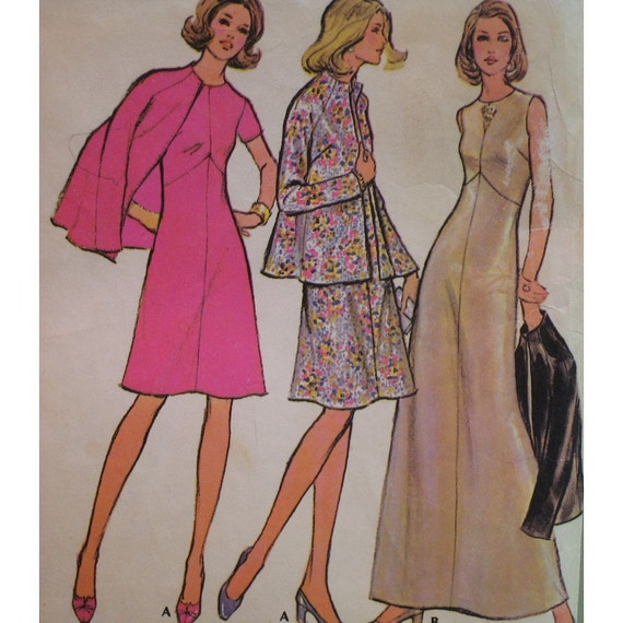 "Vintage 1970s Dress, Jacket Pattern, Shaped Seaming, Lined, Raglan Sleeves - McCalls No. 3412 Size 14 (Bust 36"", 92cm)"