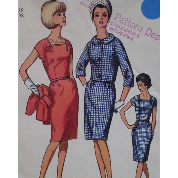 "1960s Bombshell Dress Pattern, Square Neckline, Fitted, Straight Skirt, Short Jacket, Simplicity No. 6328 UNCUT Size 18 (Bust 38"", 97cm)"