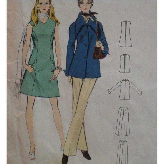 "Frederico Forquet Dress Pattern, Vintage 1970, Matching Jacket, Top, Pants,  Vogue Couturier Design No. 2294 Size 14 (Bust 36"" 92cm)"