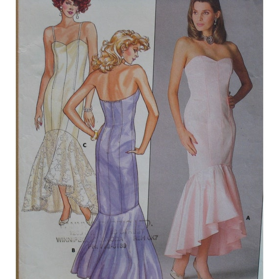 """80s Gown Pattern, Bombshell Wiggle Dress, Princess Seams, Cha Cha Flounce - Butterick No. 3727 Size 6,8 (Bust 30.5 to 31.5"""", 78 to 80cm)"""