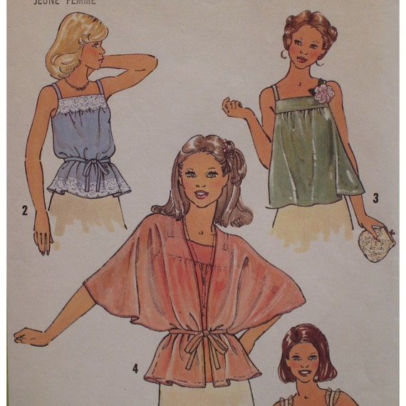 Summer Tops Pattern Womens, Camisole, Overblouse, Tent Sleeves Vintage 1970s Simplicity No. 8739 Size 6, 8 OR Size  12
