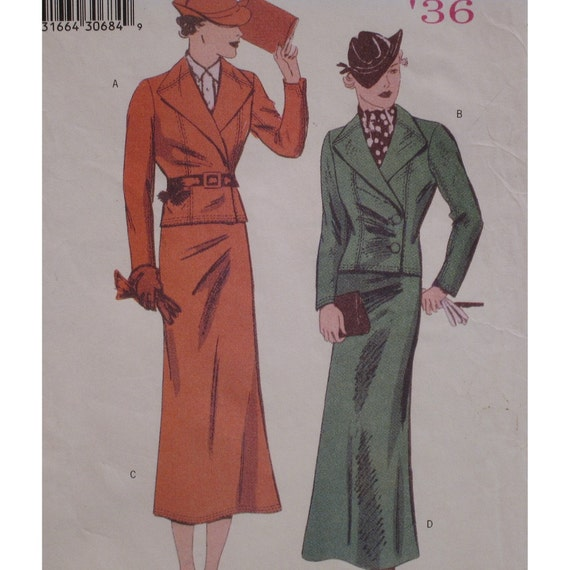 Retro 1936 Butterick Womens Suit Pattern, Short Wrap Jacket, Long A line Skirt, Butterick No. 6330 UNCUT Size 18 20 22