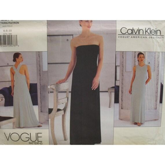 Calvin Klein Evening Gown Pattern Strapless, Cross Back Straps, or Narrow Straps, Vogue American designer No. 2276 UNCUT Size 6 8 10
