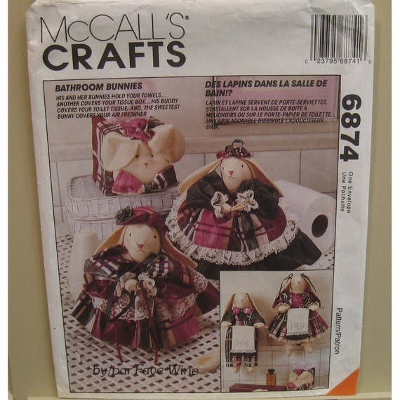 Bathroom Bunnies Pattern, Towel Holders, Tissue Box  and Toilet Paper Covers,Faye Wine Design McCalls No 6874 UNCUT