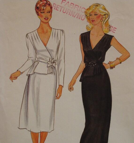 """Richard Warren Evening Wear Pattern, Dress, Mock Wrap Top, V Neck, Front Peplum, Straight Skirt Butterick No. 4186 Size 16 (Bust 38"""" 97cm)"""