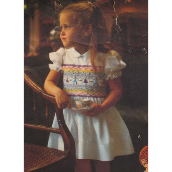 "Vintage Girls Smocked Dress Pattern  Top, Fitted Bodice, Sleeves, Collar, Little Vogue No. 1615 Size 6 (Breast 25"" 64cm)"