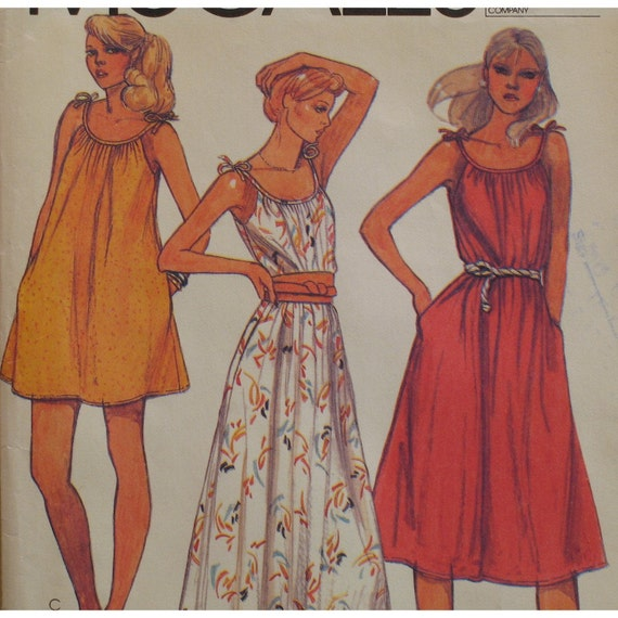 Flared Pullover Sundress Pattern, Shoulder Ties, Pockets, Vintage 1980s McCalls No. 7091 Size Small(10-12)