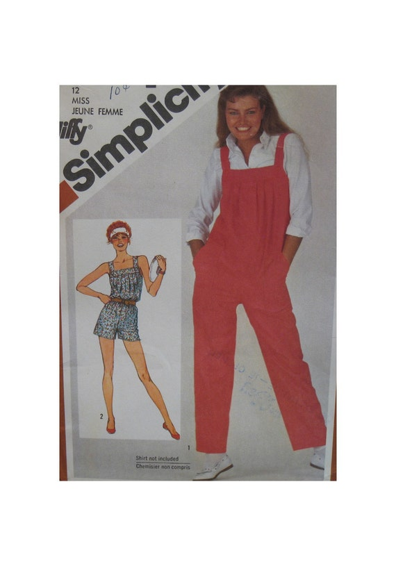 """Womens Strappy Romper Pattern, Overalls, Pleated Bodice Shoulder Straps. Vintage, Simplicity No. 5266 Size 12 (Bust 34""""87cm)"""