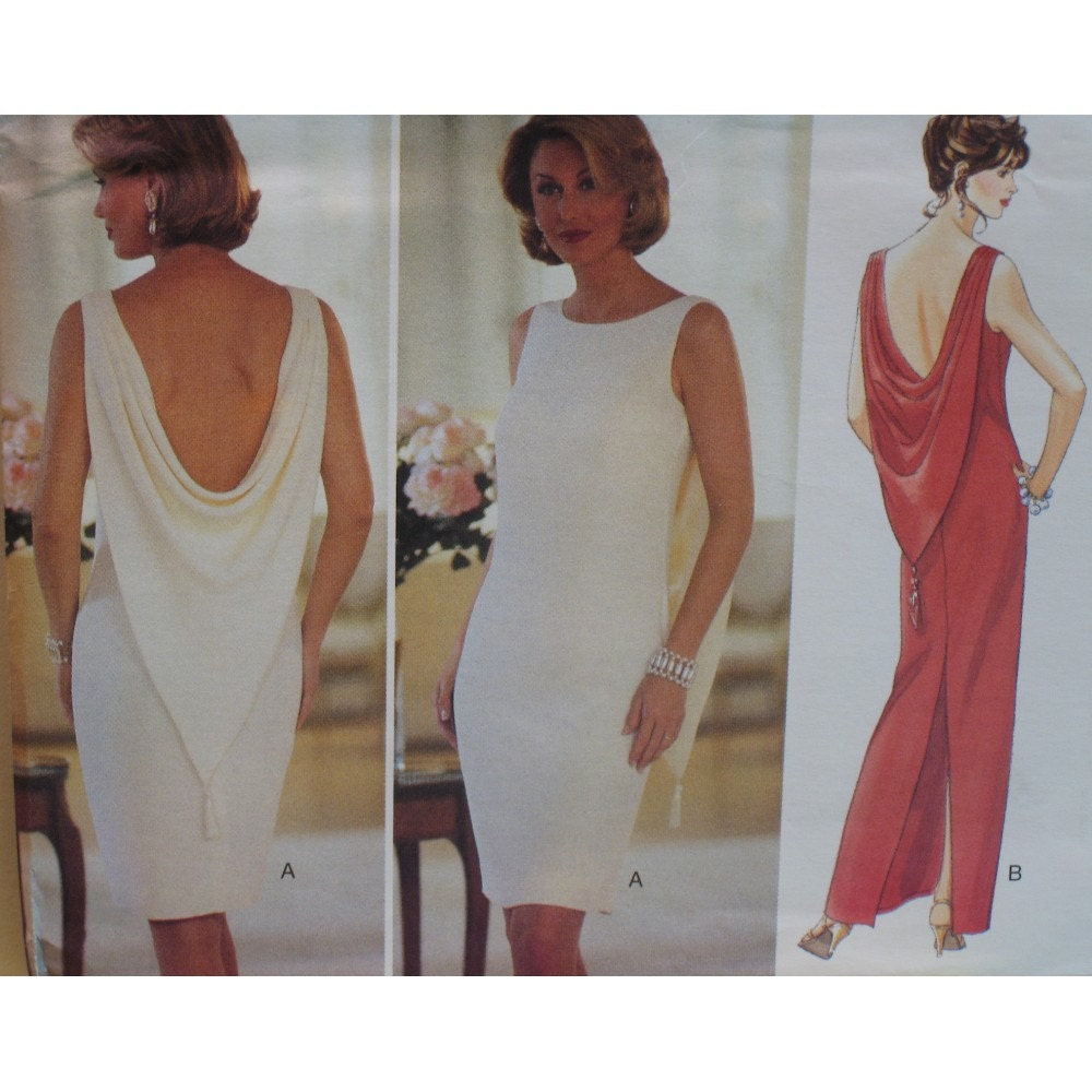 Draped Gown Pattern: Sexy Back Drape Dress Pattern Evening Wear Close By