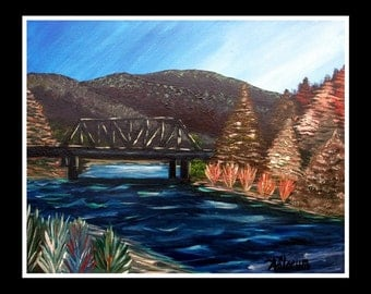 "Wind River Bridge, Signed Print from an Original Painting, 16""x20"""