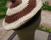 The 1960's Brown and Cream Crochet Beret