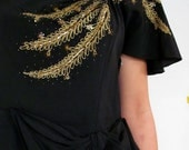 The 1940's Carolyn Kelsey Black Beaded Evening Gown