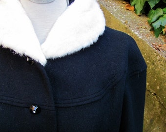 The 1960's Black Wool and Fur Collar Angela Coat