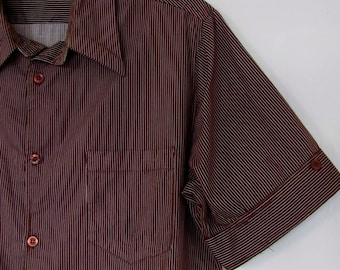 The 1960's Cyrano Brown and White Striped Short Sleeve Men's Shirt