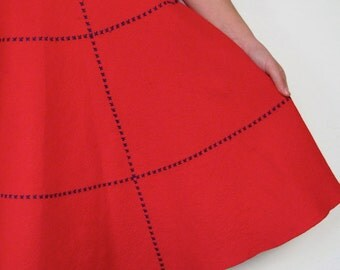 The 1960's Scarlet Red Felt Cross Stitch Circle Skirt