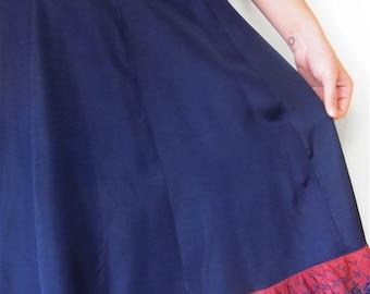 The 1940's Navy Blue Ruffled Artemis Slip