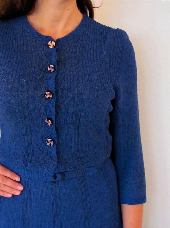 The Blue 1940's Henley Sweater Dress