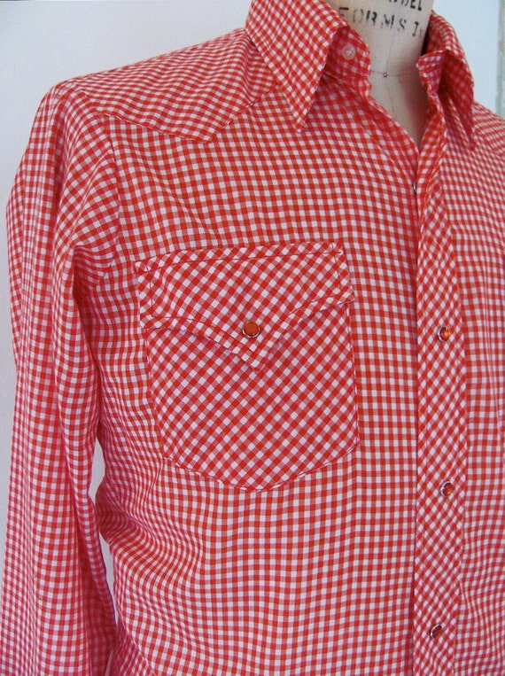 RESERVED - The Red and White Gingham Men's Western Shirt
