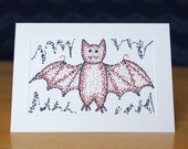Vampire Bat Card - Personalized or Blank