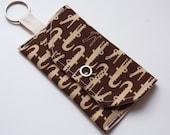 Mini pouch for public transport cards - Crocodile fabric sideways