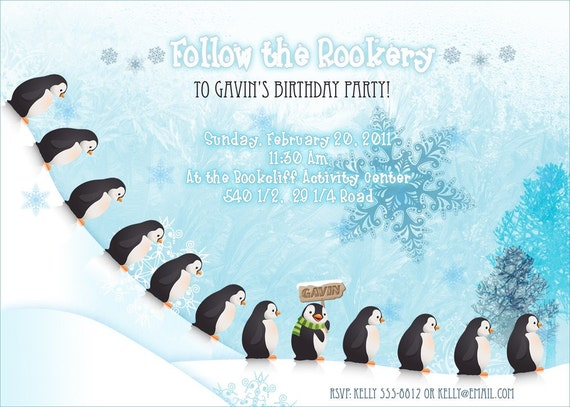 Penguin Party Invitation Digital Download