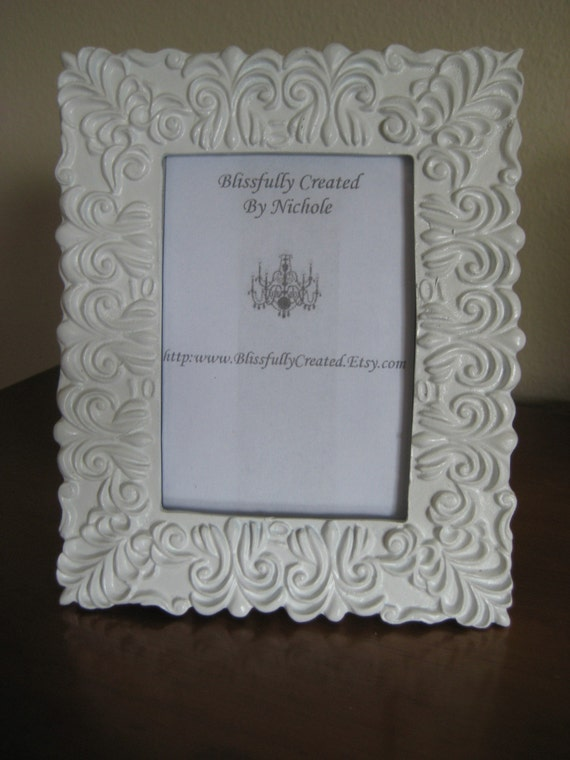 White Shabby Chic wooden carved Photo Frame 3.5x5