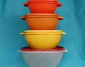 Set of 4 Vintage Tupperware Servalier Bowls Mod Colors Fall Colors
