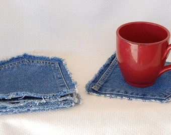 Denim Coasters Trivets Hot Pads Hotpads from Upcycled Recycled Blue Jeans Pockets   Price Listed is for Each Pocket Coaster